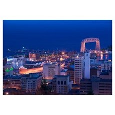 High angle view of a city, Canal Park, Duluth, Min Framed Print